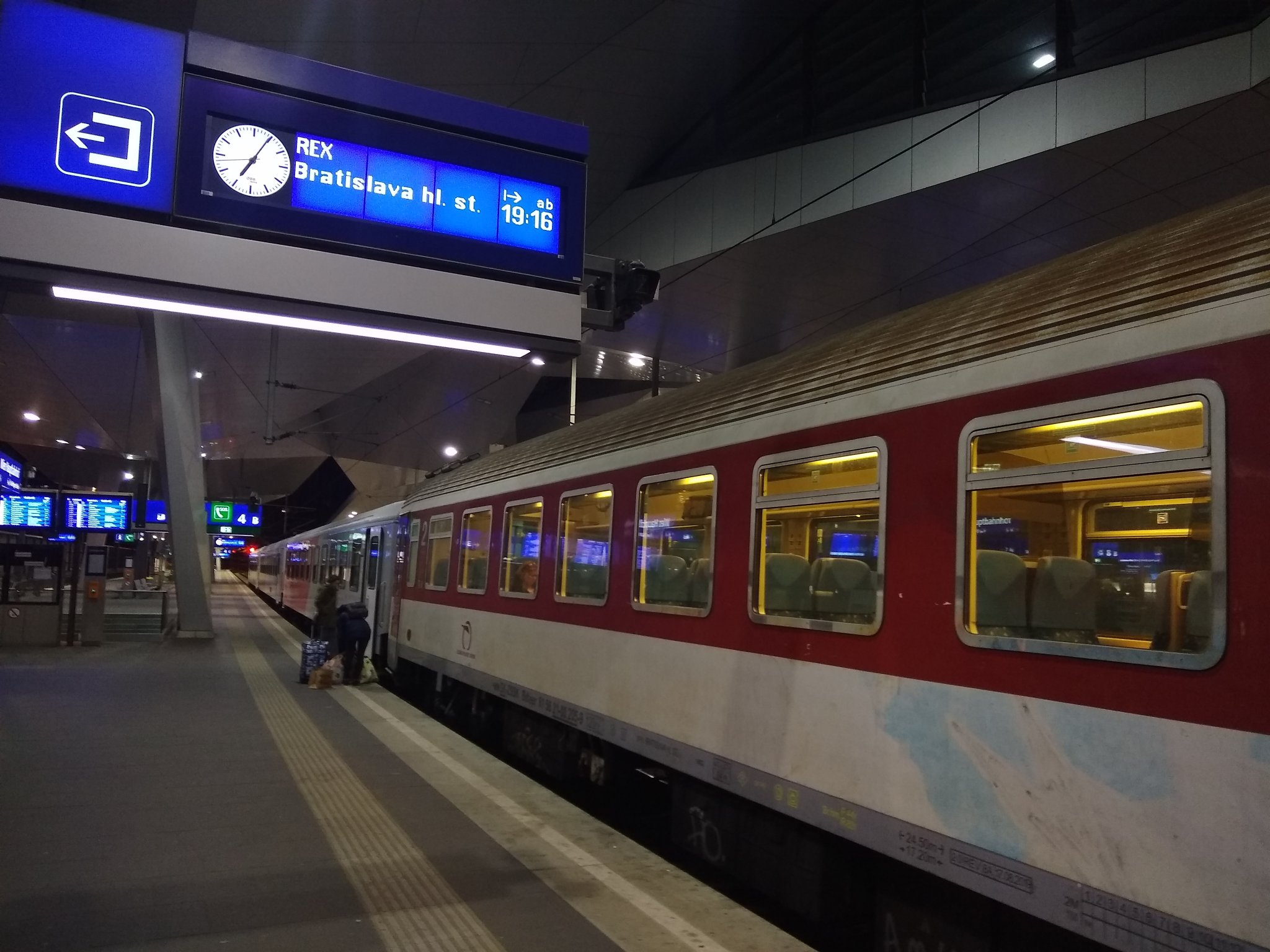 The REX to Bratislava waiting at platform 4