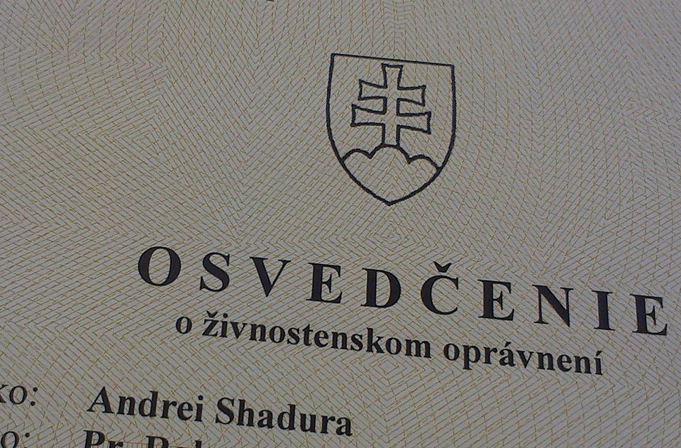 Picture of the business license. Text in Slovak: 'Osvedčenie o živnostenskom opravnení. Andrei Shadura'.
