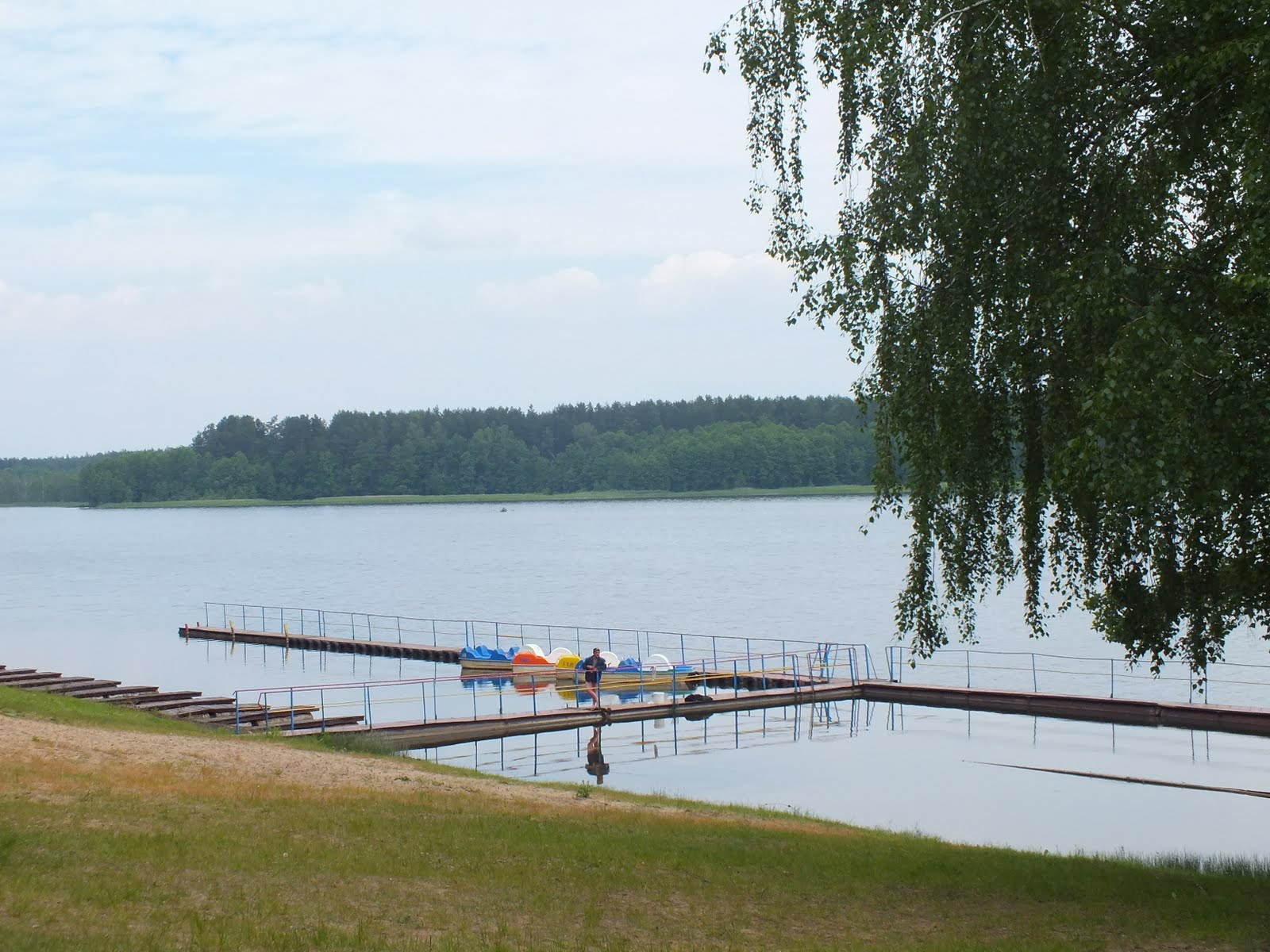 Person standing on a pier by a lake